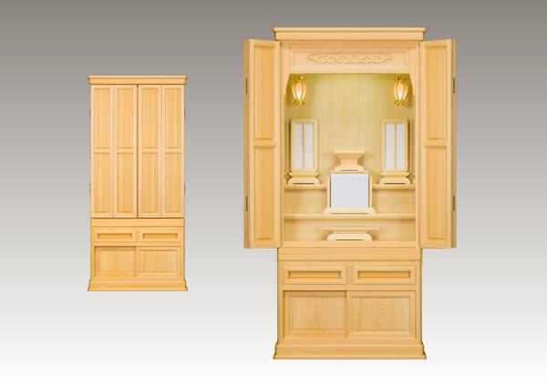 ひのき材 2尺3寸 かぶせ扉仕様 角丸台輪